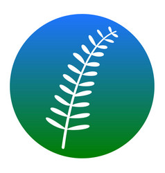 Olive twig sign white icon in bluish vector