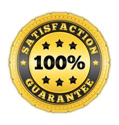 Satisfaction guarantee golden badge vector