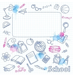School doodle on the blots checkered page with vector image