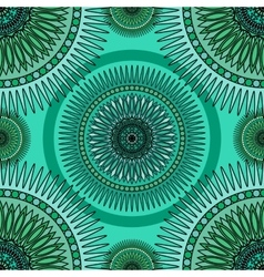 Seamless emerald pattern with oriental mandalas vector image vector image