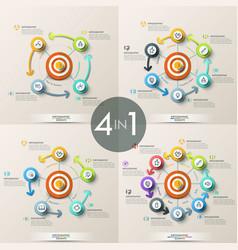 Set of 4 modern infographic design templates vector