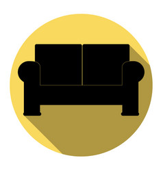 Sofa sign flat black icon vector