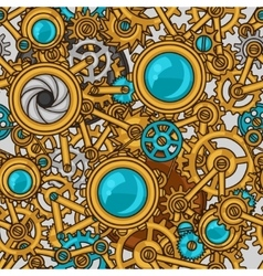Steampunk seamless pattern of metal gears in vector