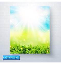 Summer sun burst over a fresh green meadow vector