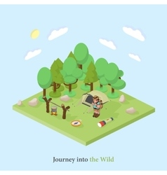 tourist with a backpack into the wild Isometric vector image