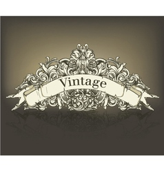 Vintage floral with scroll vector