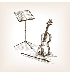 Violin bow music stand hand drawn sketch vector image vector image