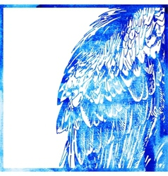 watercolor animal background in a blue color wing vector image vector image
