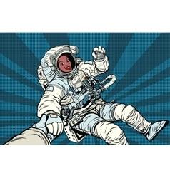 Woman astronaut african american gesture ok vector