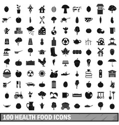 100 health food icons set simple style vector