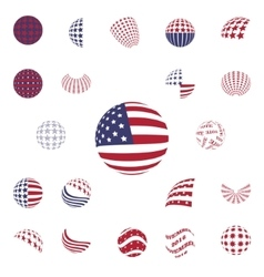 Spherical gray color symbols usa flag vector