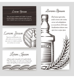 Whisky bouqlet and cards templates set vector