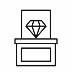Diamond on a pedestal icon outline style vector