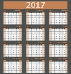 Calendar 2017 week starts on sunday brown tone vector