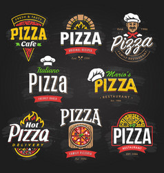 Pizza emblems set vector