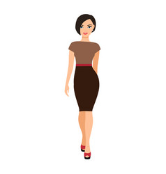 Girl in a brown dress vector