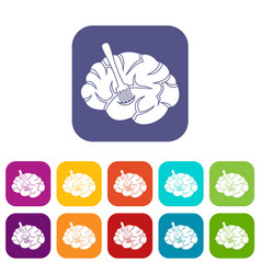 Fork is inserted into the brain icons set flat vector