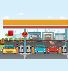 Gasoline and oil station or gas filling station vector