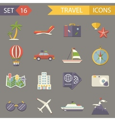 Retro travel rest symbols tourist accessories vector