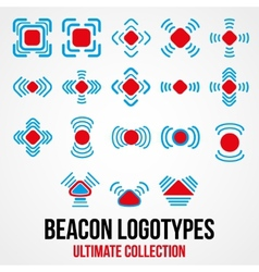 Set of black beacon icons vector