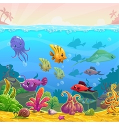 Funny cartoon underwater vector