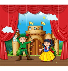 Children doing stage drama vector