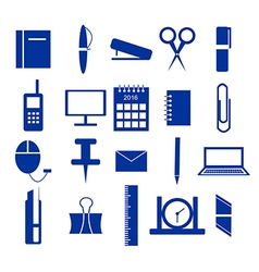 Icons office supplies in blue vector