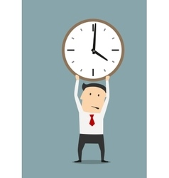 Businessman holding clock over head vector