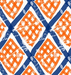 Rough brush diamond grid with orange checkered vector