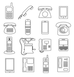 various black phone symbols and outline icons set vector image