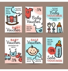 Set of discount coupons for baby goods vector