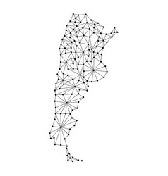 argentina map of polygonal mosaic lines network vector image