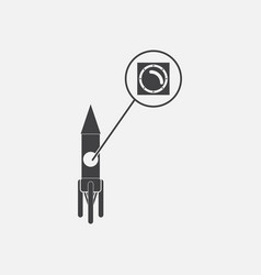 Black icon on white background rocket and porthole vector
