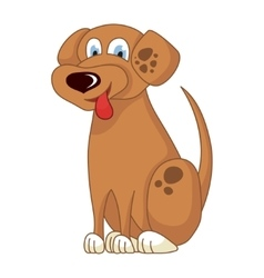 Cartoon smiling light brown spotty puppy vector image vector image