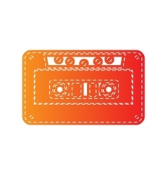 Cassette icon audio tape sign orange applique vector