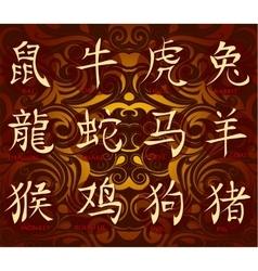 Chinese horoscope hieroglyphs vector