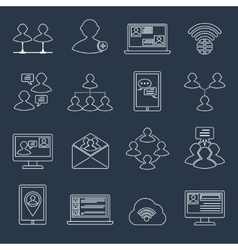 Communication icons set outline vector image vector image