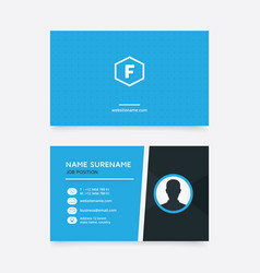 creative business card with blue color and icon vector image vector image