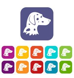 Dalmatians dog icons set vector