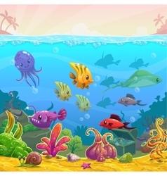 Funny cartoon underwater vector