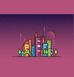 futuristic city and rockets vector image vector image