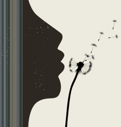 Girl and dandelion illustration vector