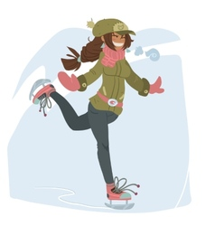 Girl on Skates vector image vector image