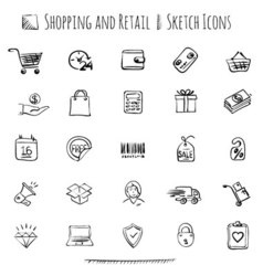 Hand drawn shopping and retail icon set vector image