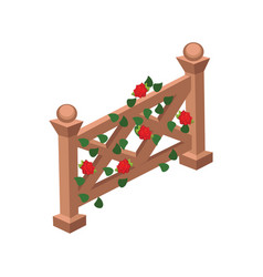 Isometric cartoon wooden fence gate decorated vector