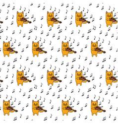 little cat seamless pattern vector image