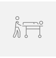 Man pushing stretchers line icon vector image