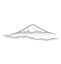 Mountain fuji in japan vintage black vector
