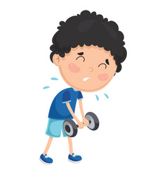 of a boy with dumbbell vector image vector image