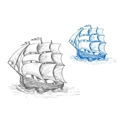 Old sailing ship in stormy waves vector